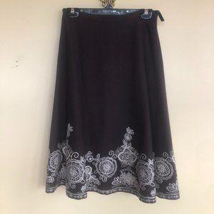 Embroidered wool midi skirt